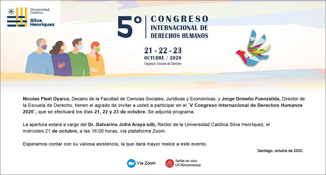 V Congreso Internacional de Derechos Humanos 2020, Escuela de Derecho UCSH.