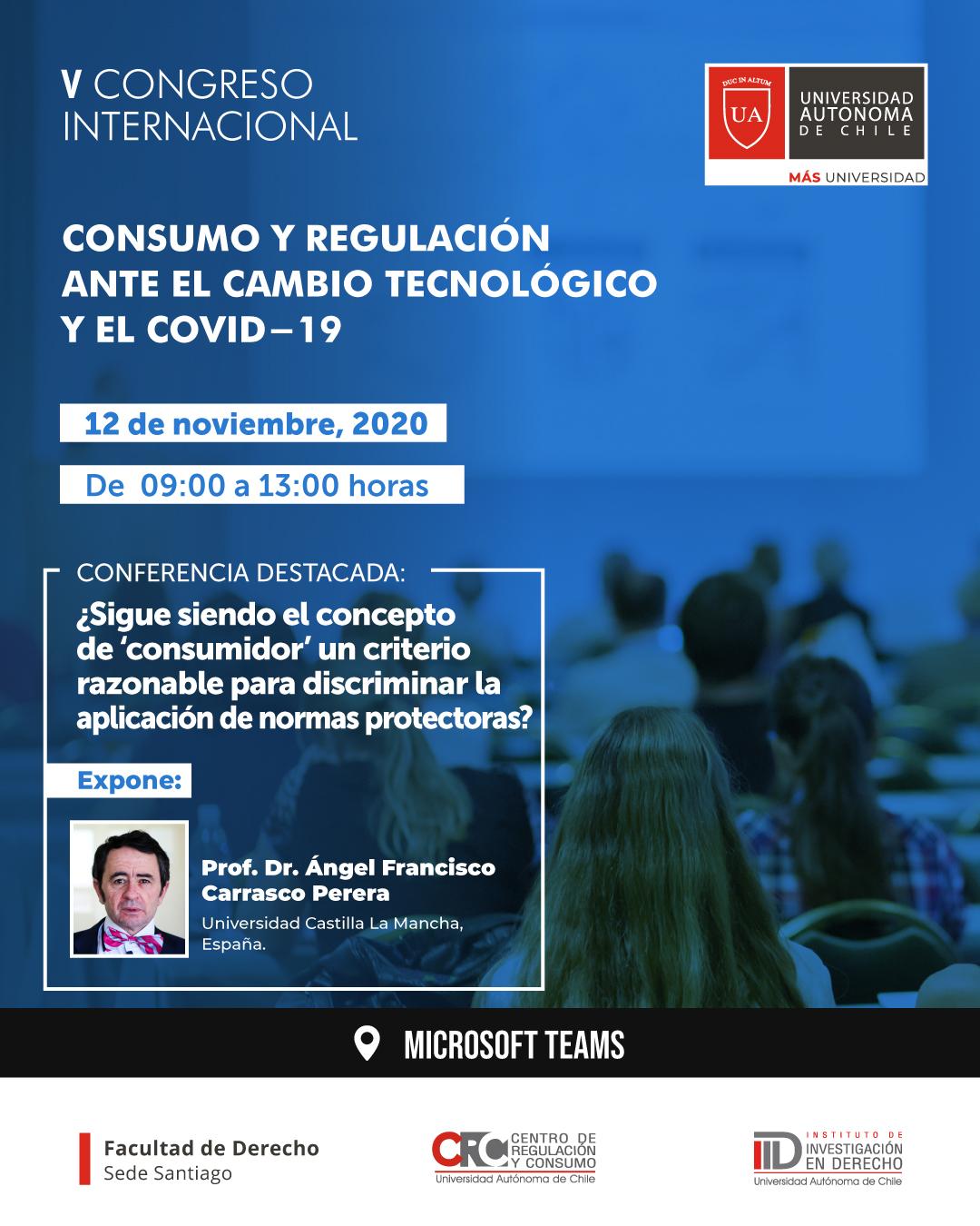 """V Congreso Internacional de Regulación y Consumo: """"Consumo y regulación ante el cambio tecnológico y el Covid-19."""