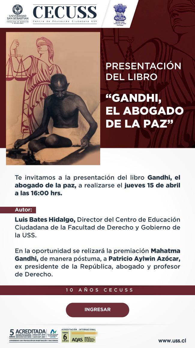 """Presentación del libro """"Gandhi, el abogado de la paz""""."""
